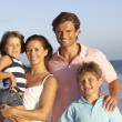 Portrait Of Family On Beach Holiday — Stock Photo