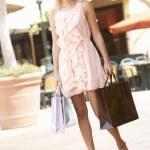Young Woman Enjoying Shopping Trip — Stock Photo