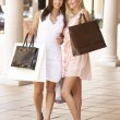 Two Young Women Enjoying Shopping Trip Together — Stock Photo