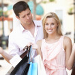 Man Frustrated With Woman On Shopping Trip Together — Stock Photo