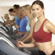 Woman On Running Machine In Gym - Stock fotografie