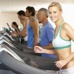 Woman On Running Machine In Gym — Stock Photo