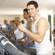 Man On Running Machine In Gym — Foto Stock