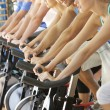 Man Cycling In Spinning Class In Gym — Stock Photo