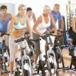 Stock Photo: Group Of In Spinning Class In Gym