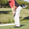 Male Golfer On Golf Course Putting On Green — Stock Photo #4843069