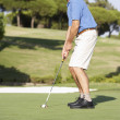 Foto de Stock  : Senior Male Golfer On Golf Course Putting On Green