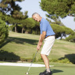 Stock Photo: Senior Male Golfer On Golf Course Putting On Green
