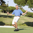 Senior Male Golfer On Golf Course Putting On Green — Stockfoto #4843079