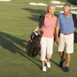 senior couple walking entlang golfplatz carrying bags — Stockfoto