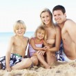 Portrait Of Family On Summer Beach Holiday - Lizenzfreies Foto