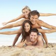 Group Of Friends Enjoying Beach Holiday - Photo