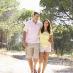 jovem casal, mãos dadas, caminhar, caminhar no parque — Foto Stock