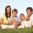 Young parents, with children, posing on a field — Stock Photo