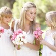 Bride With Bridesmaids Outdoors At Wedding — 图库照片