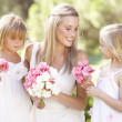 Bride With Bridesmaids Outdoors At Wedding — 图库照片 #4843490
