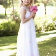 Portrait Of Bridesmaid Holding Bouquet Outdoors — Stock Photo
