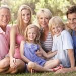 een familie, met ouders, kinderen en grootouders, ontspannen in een — Stockfoto