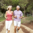 Senior couple running in park — Stock Photo