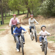 Family enjoying bike ride in park — Stok Fotoğraf #4843997