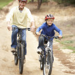 Stock Photo: Grandfather and grandson riding bicycle in park