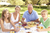 Family Enjoying Meal In Garden — Photo