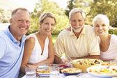 Paren hijo adulto y su hija disfrutando de comida en el jardín con senior — Foto de Stock