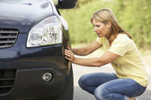 Female Driver Broken Down On Country Road — Stock Photo