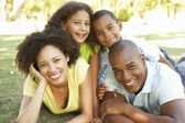 Portrait of Happy Family Piled Up In Park — Stock Photo
