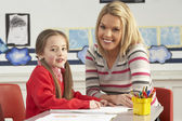 Female Primary School Pupil And Teacher Working At Desk In Class — ストック写真