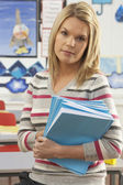Portrait Of Female Teacher Sitting At Desk In Classroom — Stock fotografie