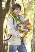 Man Outdoors In Autumn Woodland Gathering Logs — Stock Photo