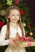 Young Girl Holding Christmas Present In Front Of Christmas Tree — Stok fotoğraf