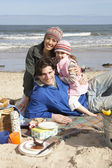 Family Having Barbeque On Winter Beach — Stock Photo