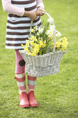 Detail Of Girl Holding Basket Of Daffodils In Garden — Stock Photo