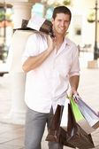 Young Man Enjoying Shopping Trip — Foto de Stock