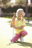 Young Girl Practising Golf On Putting On Green — Stock Photo