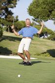 Starszy mężczyzna golfa na polu golfowym na zielono — Zdjęcie stockowe
