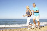 Casal sênior em roupas fitness correndo ao longo da praia — Foto Stock