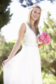 Bride Wearing Dress Holding Bouqet At Wedding — Stock Photo