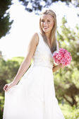 Bride Wearing Dress Holding Bouqet At Wedding — Stockfoto