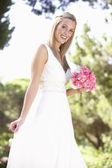 Bride Wearing Dress Holding Bouqet At Wedding — Stock Photo