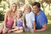 Young parents with children posing in a park — Stock Photo