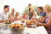 Una familia, con padres, hijos y abuelos, disfrutar de un picni — Foto de Stock