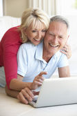 Senior couple on her laptop computer — Stockfoto