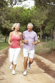 Senior couple running in park — Stock Photo