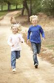 двое детей, работает в парке — Стоковое фото