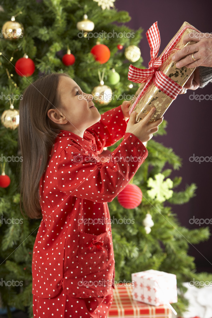 Young Girl Holding Gift In Front Of Christmas Tree — Foto Stock #4840927