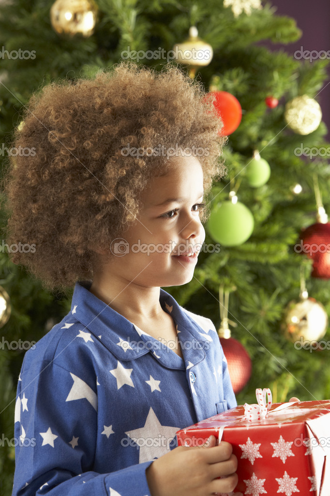 Young Boy Holding Wrapped Present In Front Of Christmas Tree — Stock Photo #4840962