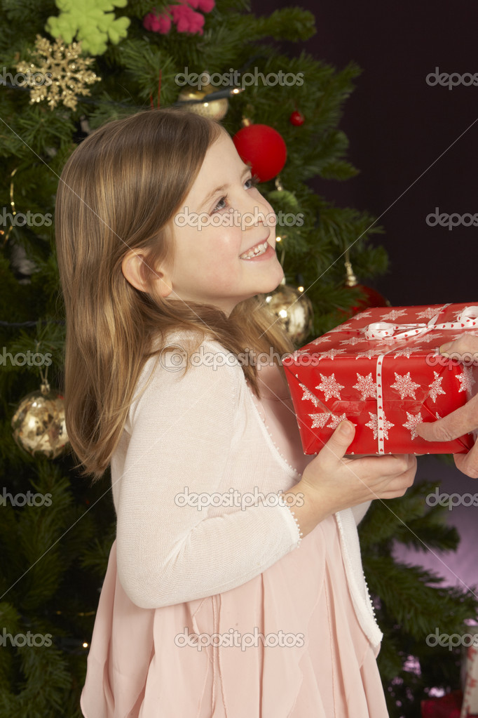 Young Girl Holding Christmas Present In Front Of Christmas Tree — Stock Photo #4840992